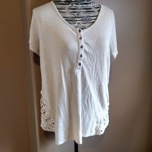 Cream knit top with cotton lace side panels